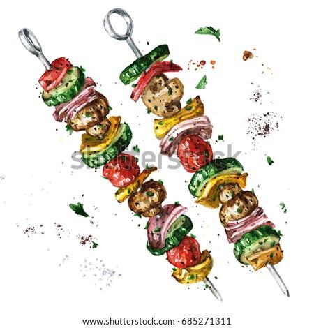 Vegetarian kebab. Watercolor Illustration.