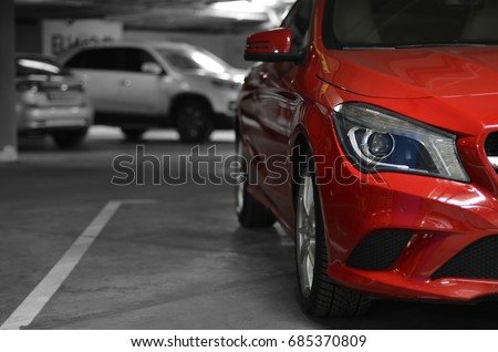 underground parking with cars Royalty-Free Stock Photo #685370809