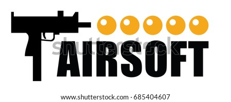 airsoft logo with sub-machine gun and pellets