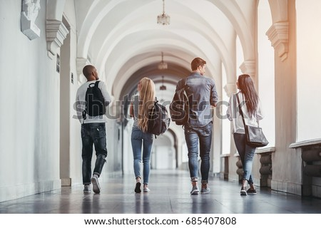 Multiracial students are walking in university hall during break and communicating. Royalty-Free Stock Photo #685407808