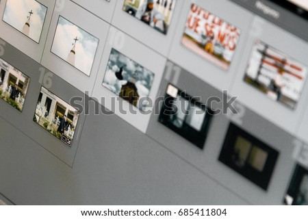 Thumbnails in photo editing software viewed on a computer screen