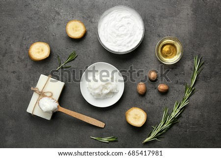 Beautiful composition with shea butter in jar on table #685417981
