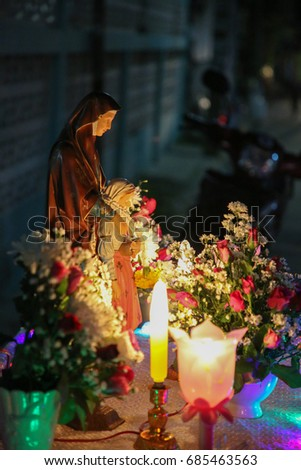 Saint Ann statue at front of the house  #685463563