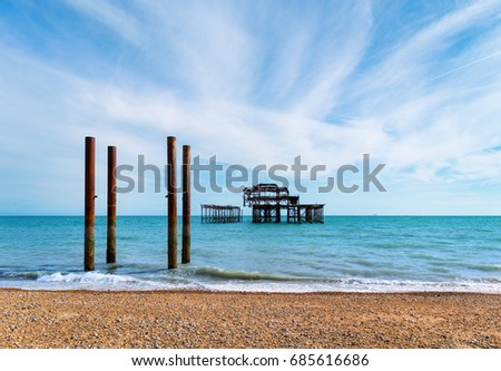 Ruins of the West Pier in Brighton, England #685616686