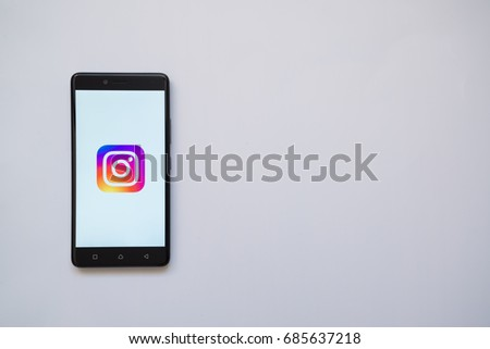 Los Angeles, USA, july 13, 2017: Instagram logo on smartphone screen on white background. #685637218