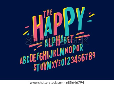Vector of colorful stylized font and alphabet Royalty-Free Stock Photo #685646794