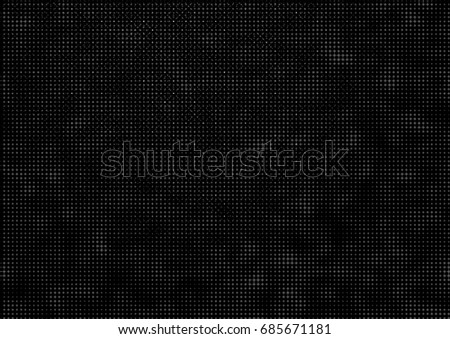 Abstract dotted halftone backdrop in white and black tones in newsprint printing style with squares, lines and circles, monochrome background for business card, poster, advertising #685671181