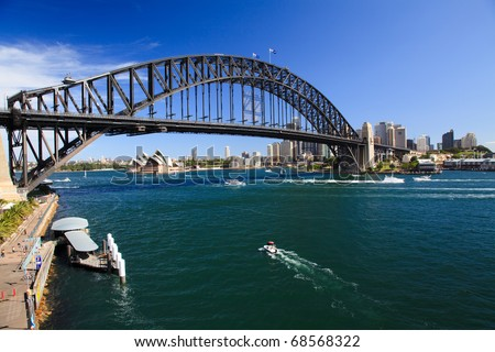 View on Harbour Bridge arch over harbour Sydney Australia and opera house from Luna park attraction sunny summer day Royalty-Free Stock Photo #68568322