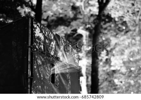 Movie floodlight ray of light bokeh background #685742809