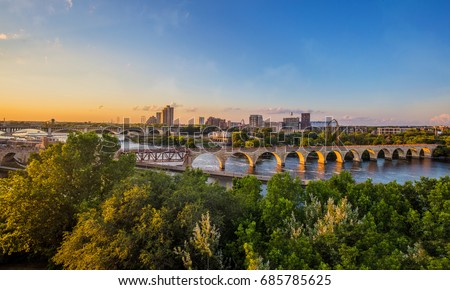 Minneapolis Minnesota at Sunset on the  Mississippi River,