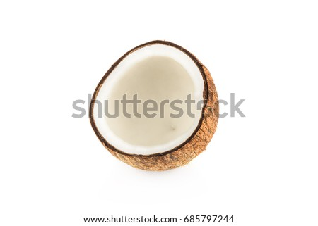 Half of coconut isolated on white (coconut) #685797244