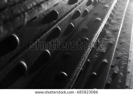 Metal reinforcement for bridge. #685823086