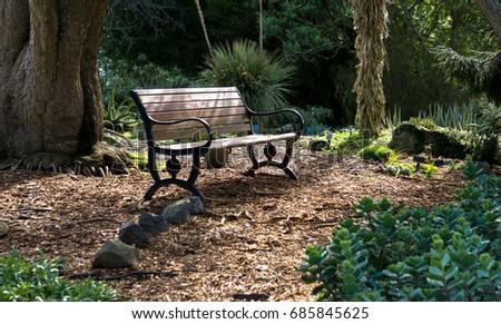 Bench in a hidden spot at the Auckland Botanical Gardens, New Zealand, Acukland #685845625