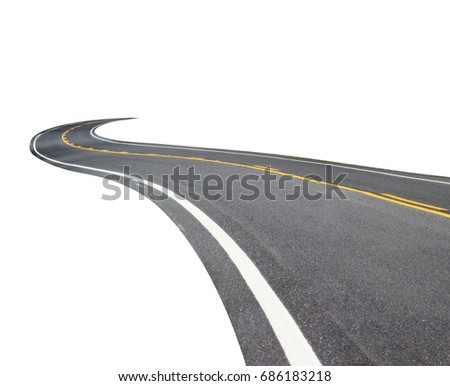 Abstract black asphalt winding Road transport with white and yellow line isolated on white background. This has clipping path. #686183218