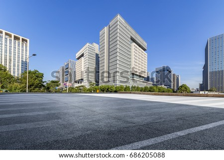 Empty floor with modern business office building    #686205088