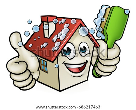 A happy cartoon house man mascot character holding scrubbing cleaning brush and giving a thumbs up