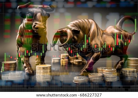 Bull market Investment chance. investor should to trade more than normal situation to make more capital gain or profit.