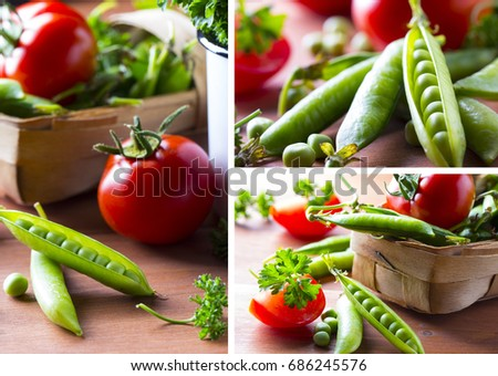 Fresh vegetables Green peas tomatoes dill Wooden background #686245576