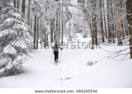 Snowshoeing through winter forest #686260546