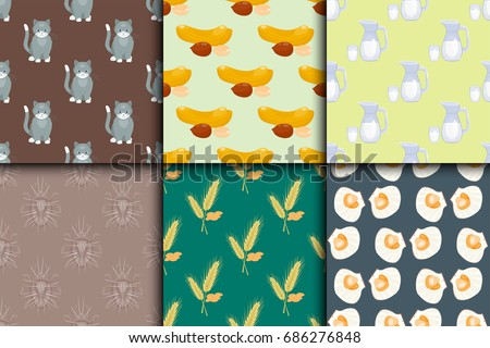 Differrent seamless pattern set with cats food nuts milk oysters bugs spikelets vector illustration. #686276848