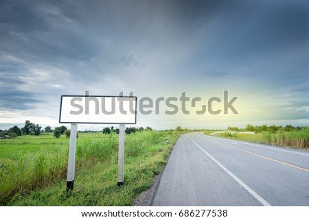 blank billboard or road sign on the road