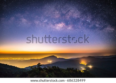 Milky Way Galaxy .Astrophotography Night landscape with colorful Milky Way, with stardust and space dust in the universe galaxy. #686328499