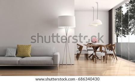 Modern bright living room, interiors. 3D rendering #686340430