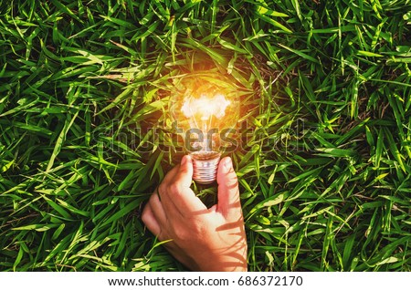 hand hold light bulb on grass  with sunset power energy concept nature Royalty-Free Stock Photo #686372170
