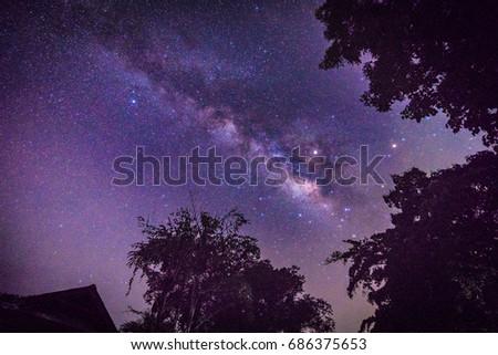 The Milky Way in the beautiful night sky #686375653