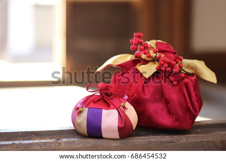 happy new year image of Korea,lucky bag and package #686454532