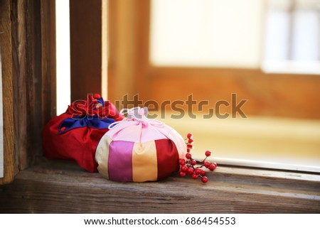 happy new year image of Korea,lucky bag and package #686454553