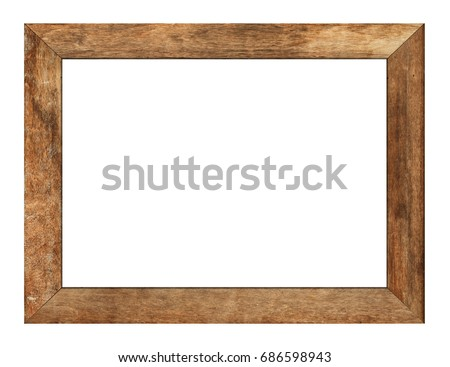 Wood frame or photo frame isolated on the white background. Object with clipping path #686598943