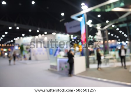 Abstract blur people in exhibition hall event background #686601259