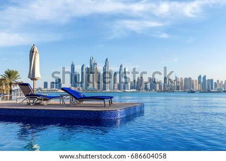 Pool view to Dubai Marina #686604058