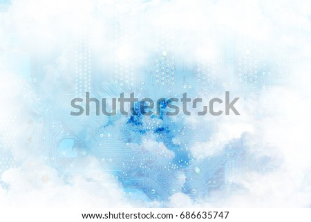 Blue mainboard overlaid by white cloud background texture is a metaphor representing cloud computing concept - Internet-based computing providing shared computer processing resources & data on demand. Royalty-Free Stock Photo #686635747
