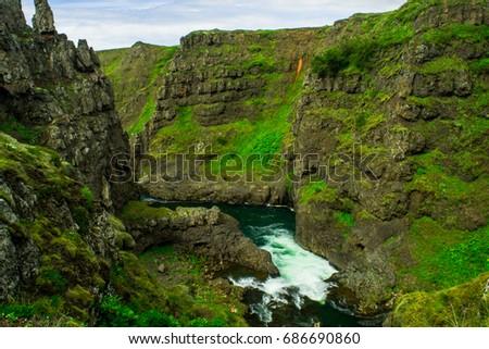 River flowing through Kolugljufur Canyon, Iceland #686690860
