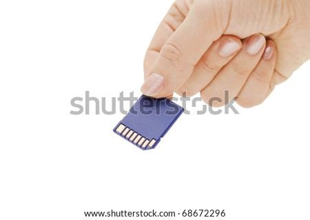 Flash card in hand isolated on white