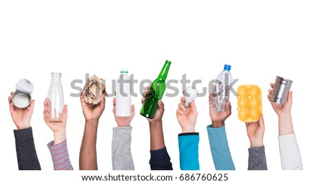 Recyclable rubbish held in hands isolated on white background Royalty-Free Stock Photo #686760625
