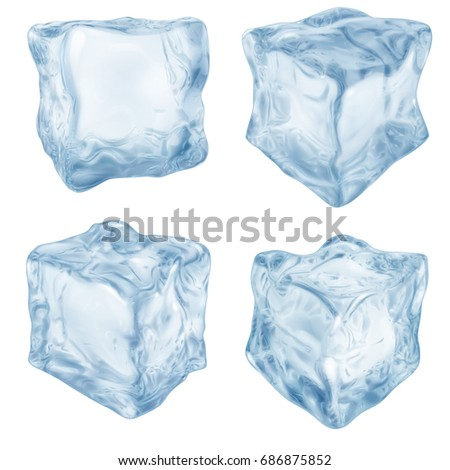 Set of realistic ice cube in light blue colors on white background #686875852
