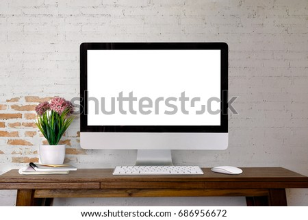 Mock up wooden table with white brick wall. For graphics display montage.	 #686956672