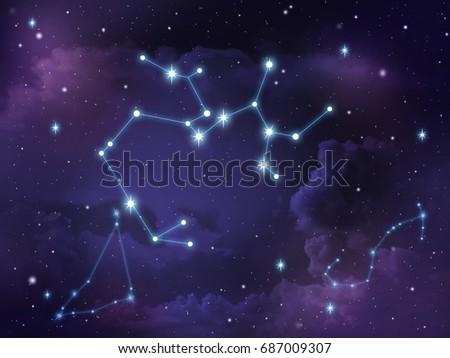 Zodiac star,Sagittarius constellation, on night sky with cloud and stars Royalty-Free Stock Photo #687009307