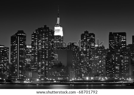 Concept black and white photo of midtown Manhattan