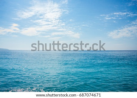 Azure Sea and Beuatiful Beach in Nice, French Riviera, France #687074671