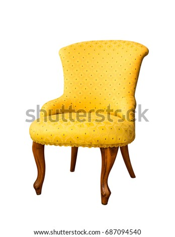 yellow vintage chair isolated on white background #687094540