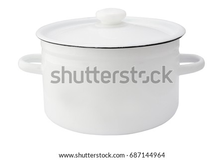 White metal pot with cover isolated on white background #687144964