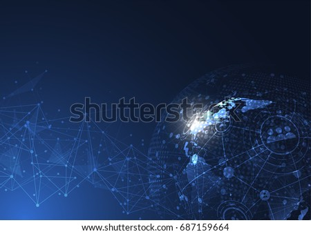 Global network connection. World map point and line composition concept of global business. Vector Illustration #687159664