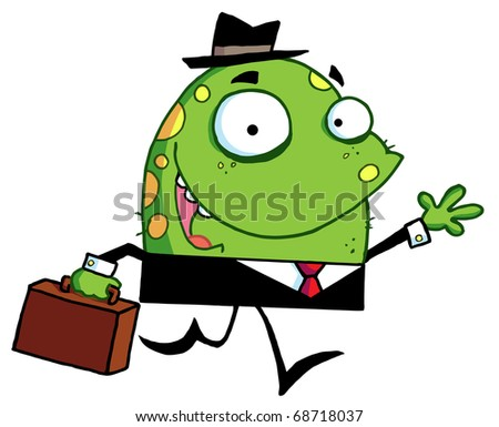 Jolly Monster In A Suit, Waving While Walking Past And Carrying A Briefcase