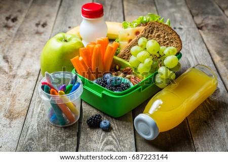 Healthy school lunch box Royalty-Free Stock Photo #687223144