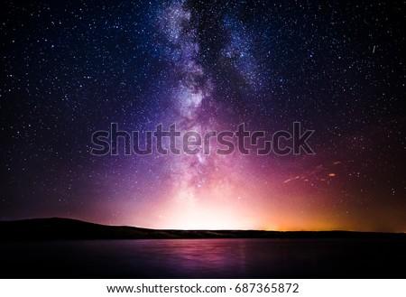 Milky Way over the sea Royalty-Free Stock Photo #687365872