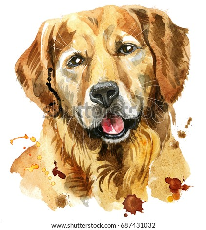 Cute Dog. Dog T-shirt graphics. watercolor golden retriever illustration